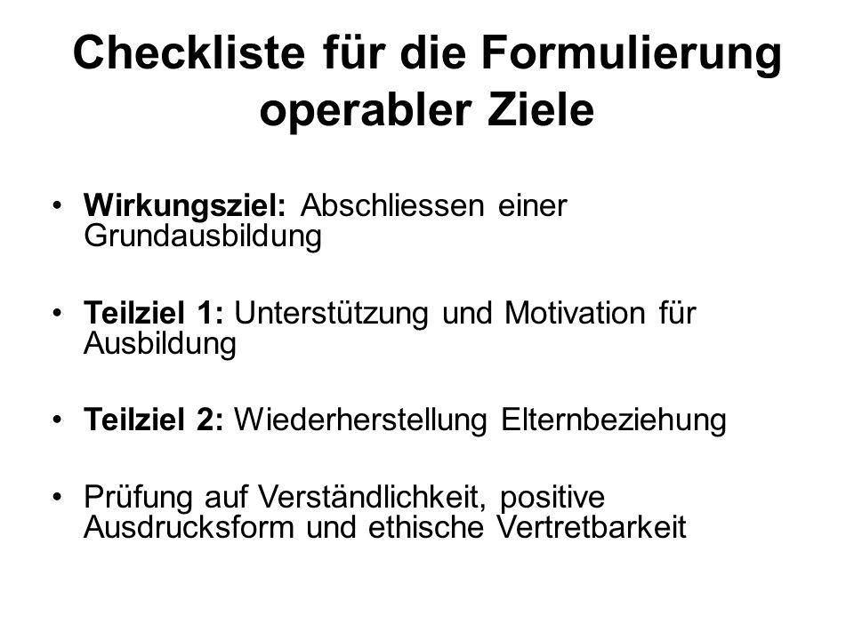 Checkliste für die Formulierung operabler Ziele