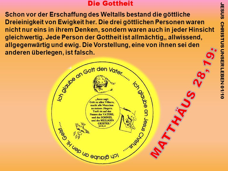 MATTHÄUS 28,19: Die Gottheit