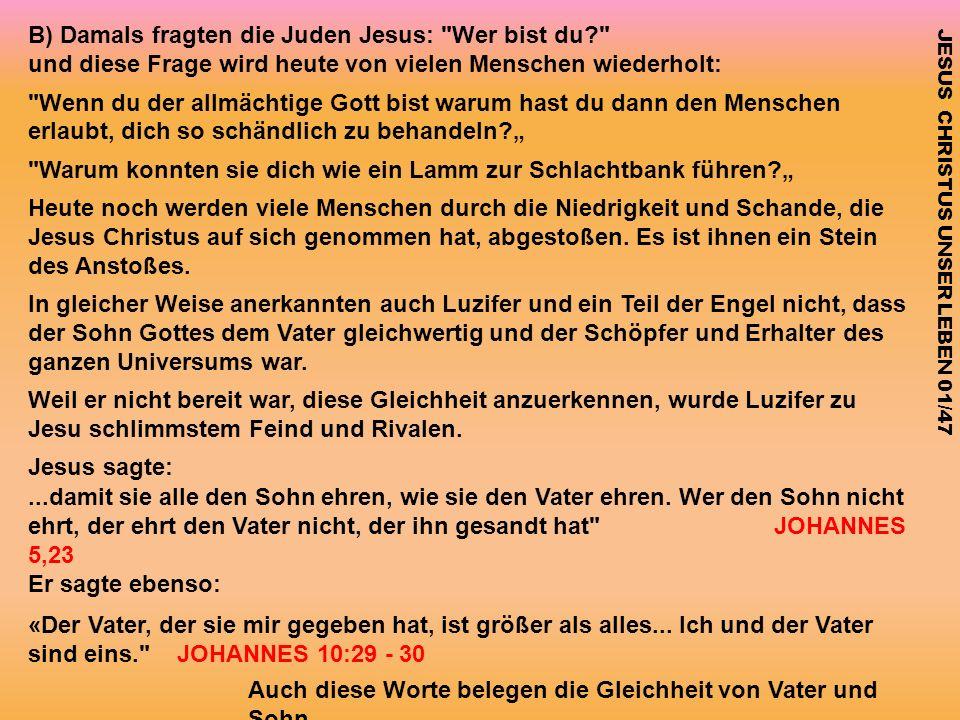 B) Damals fragten die Juden Jesus: Wer bist du