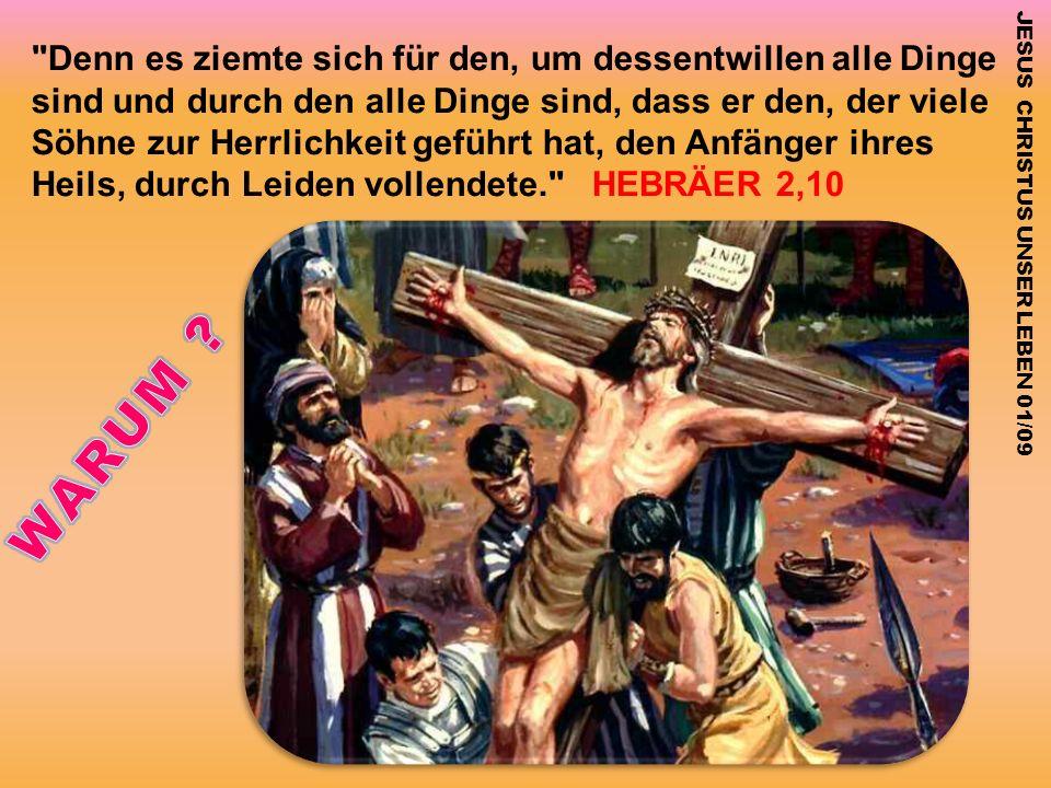 Denn es ziemte sich für den, um dessentwillen alle Dinge sind und durch den alle Dinge sind, dass er den, der viele Söhne zur Herrlichkeit geführt hat, den Anfänger ihres Heils, durch Leiden vollendete. HEBRÄER 2,10