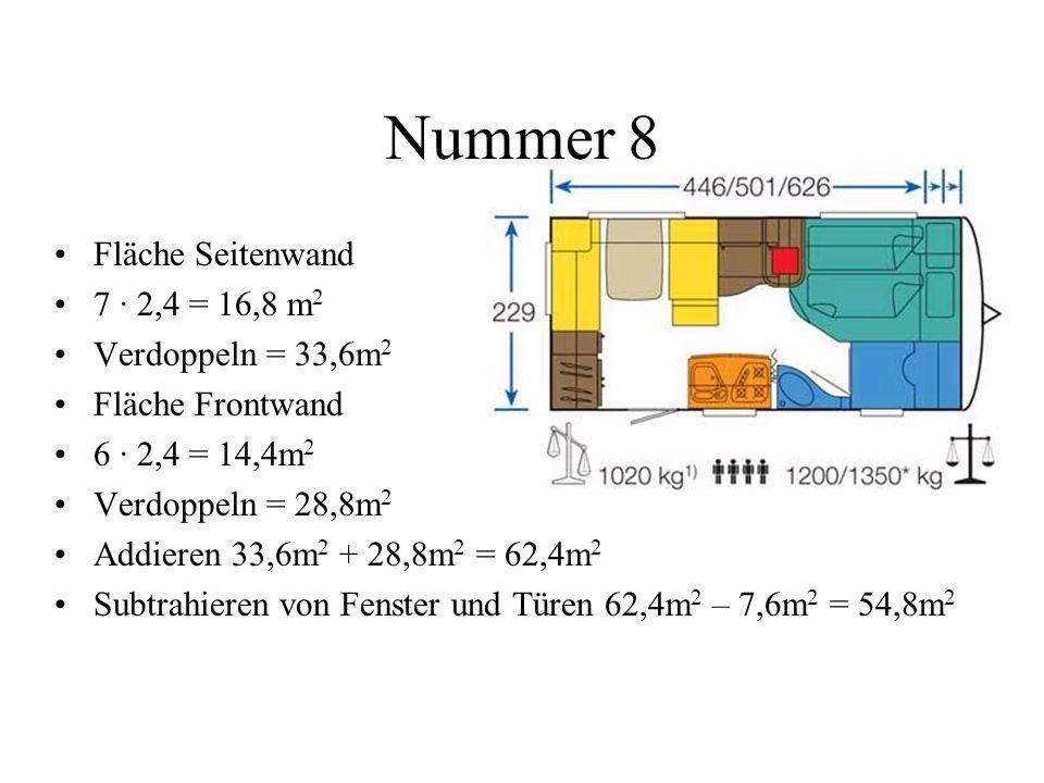 Nummer 8 Fläche Seitenwand 7 · 2,4 = 16,8 m2 Verdoppeln = 33,6m2