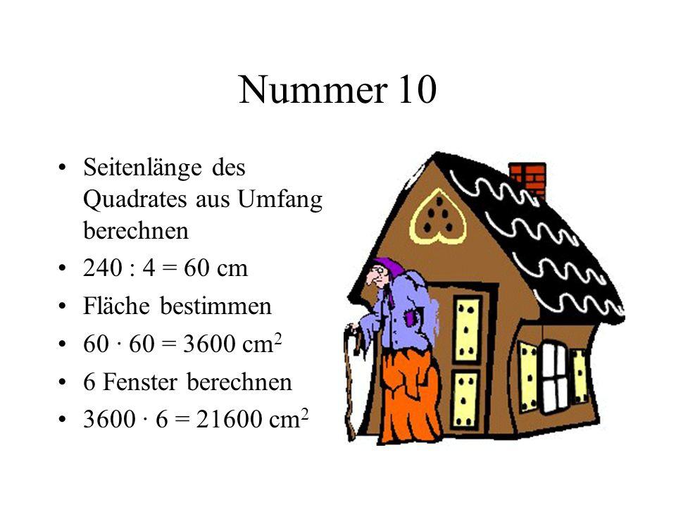 Nummer 10 Seitenlänge des Quadrates aus Umfang berechnen