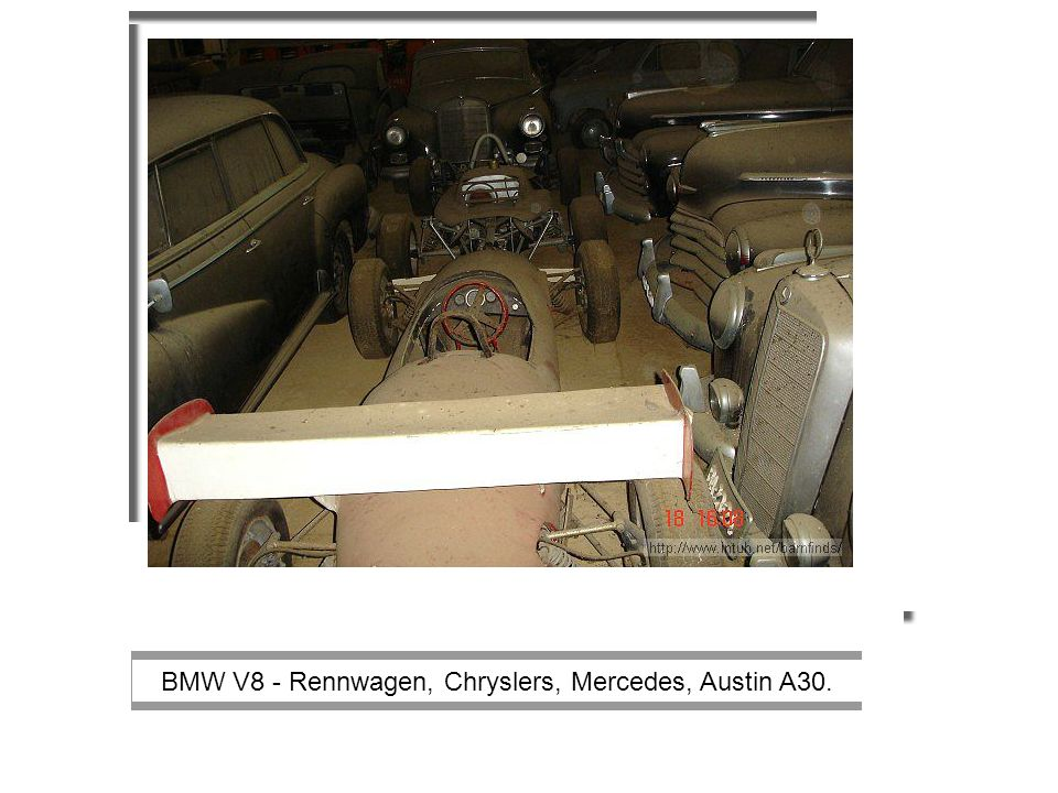 BMW V8 - Rennwagen, Chryslers, Mercedes, Austin A30.