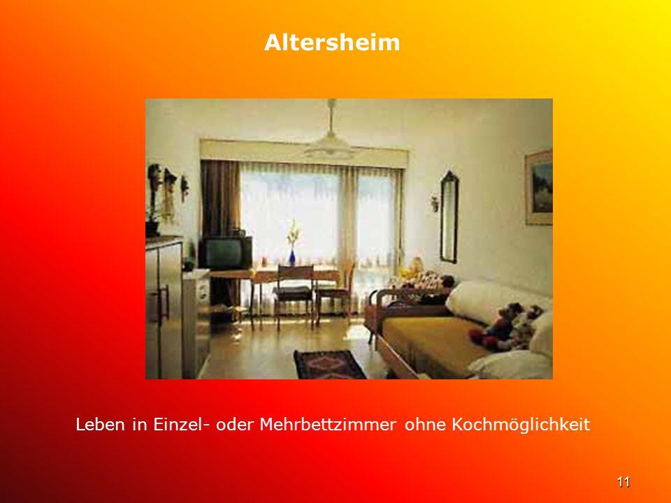 Leben in Einzel- oder Mehrbettzimmer ohne Kochmöglichkeit