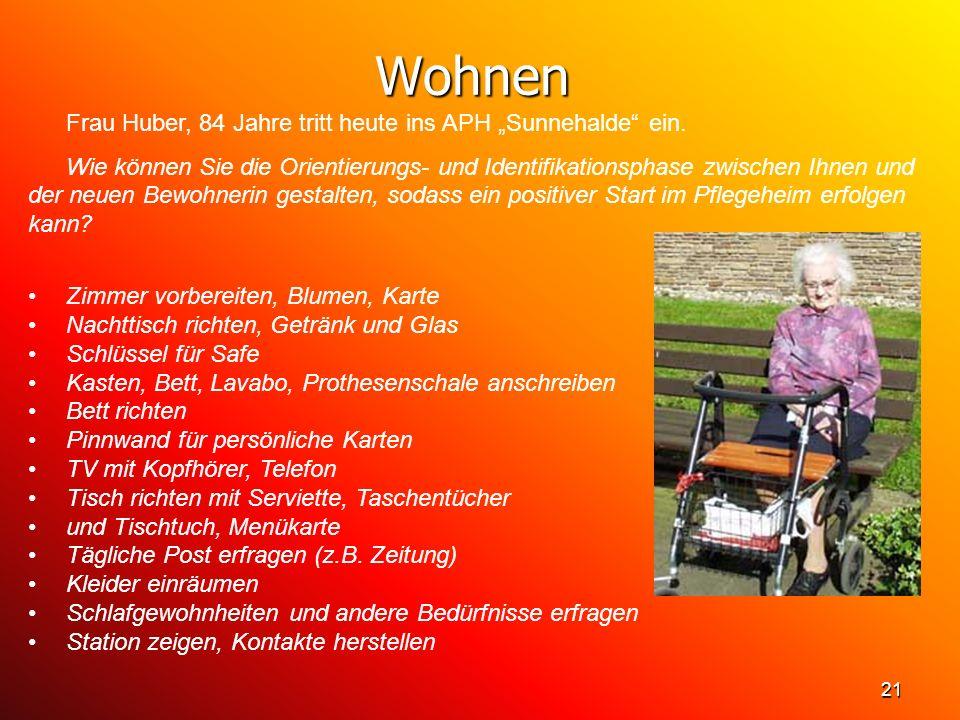 """Wohnen Frau Huber, 84 Jahre tritt heute ins APH """"Sunnehalde ein."""