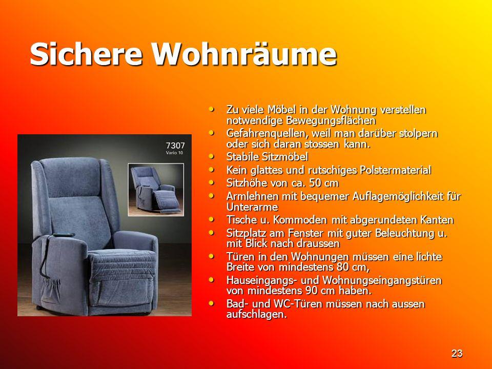 Sichere Wohnräume Zu viele Möbel in der Wohnung verstellen notwendige Bewegungsflächen.