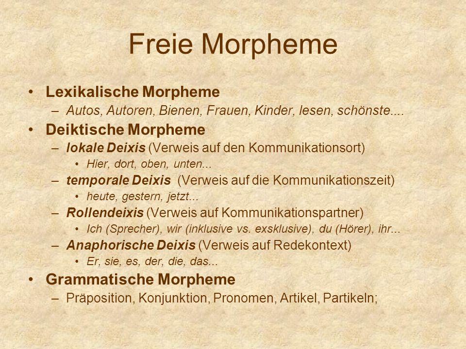 Freie Morpheme Lexikalische Morpheme Deiktische Morpheme