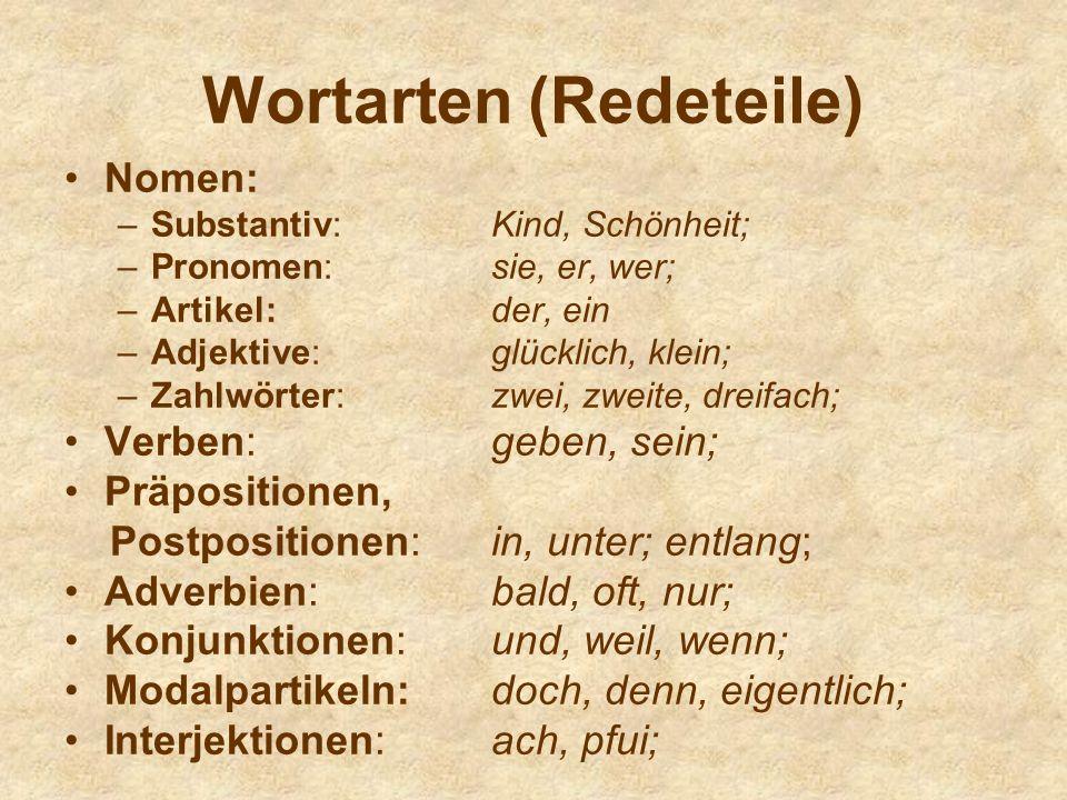 Wortarten (Redeteile)