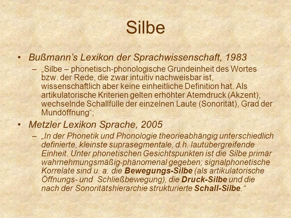 Silbe Bußmann's Lexikon der Sprachwissenschaft, 1983
