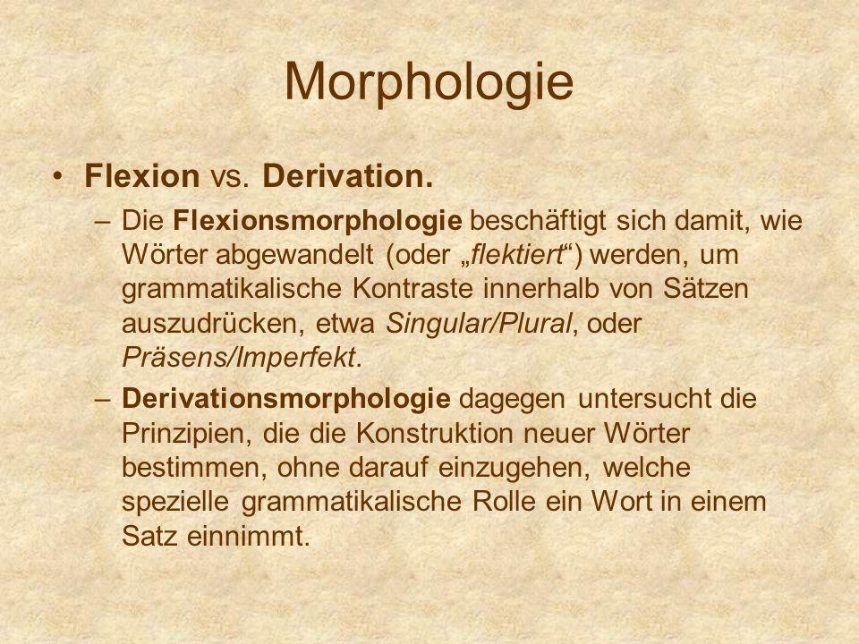 Morphologie Flexion vs. Derivation.