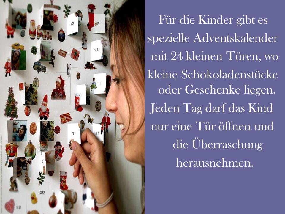 spezielle Adventskalender mit 24 kleinen Türen, wo
