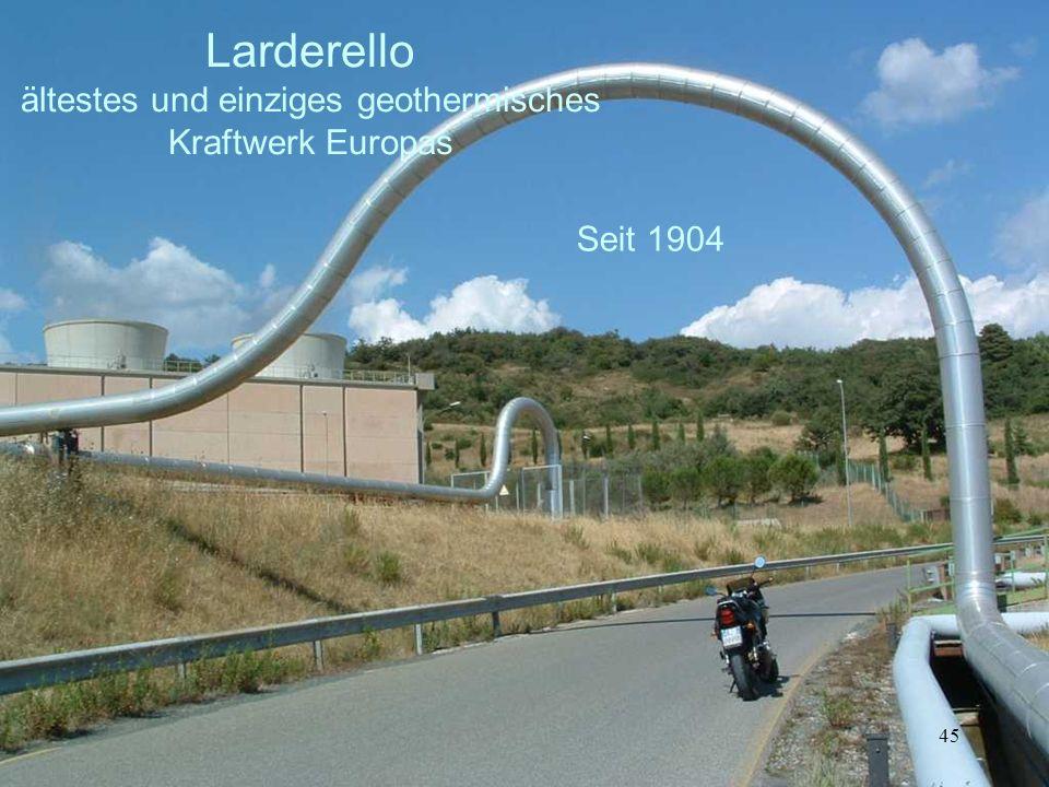 Larderello ältestes und einziges geothermisches Kraftwerk Europas