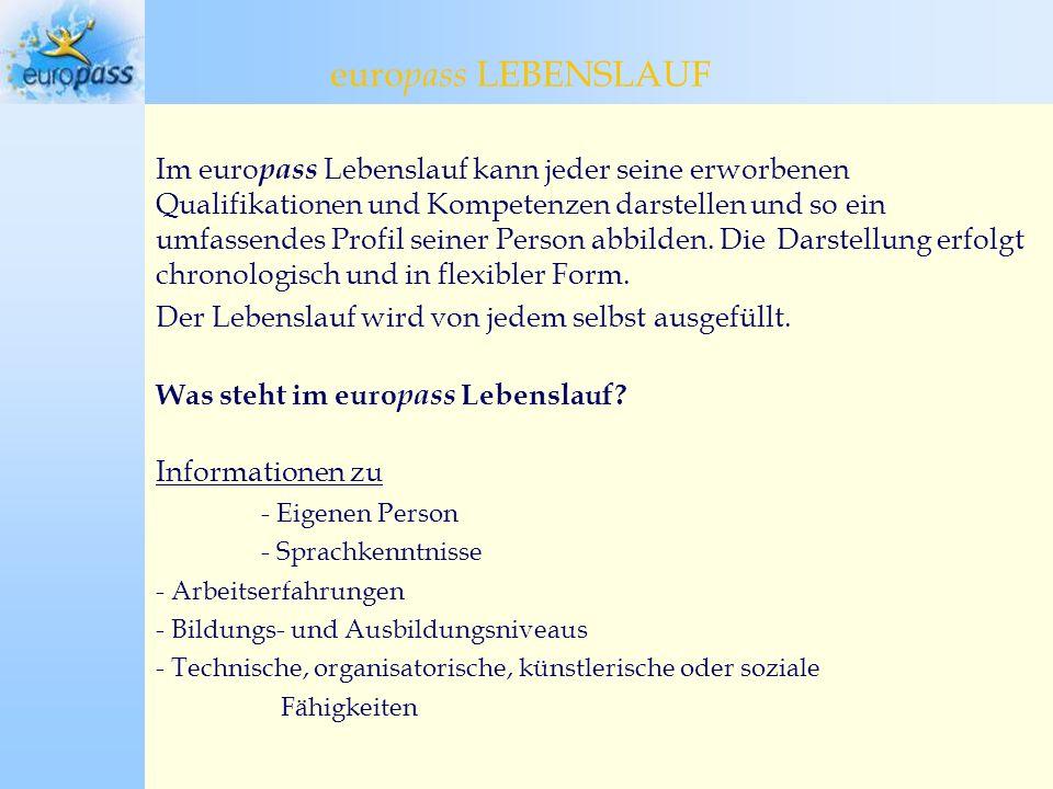 europass LEBENSLAUF europass Lebenslauf