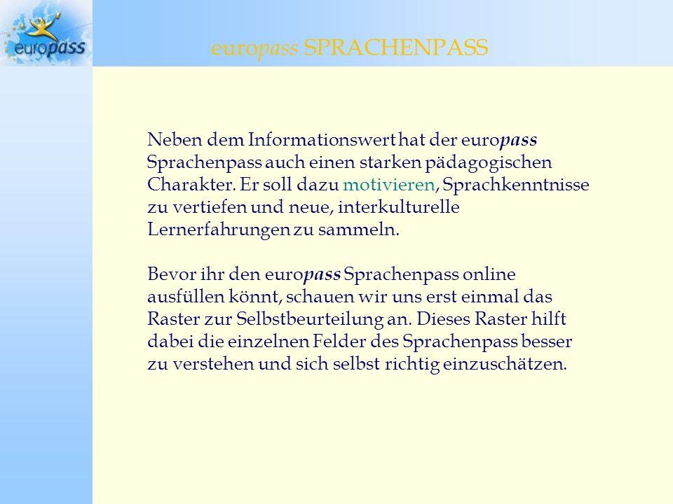 europass SPRACHENPASS europass Sprachenpass