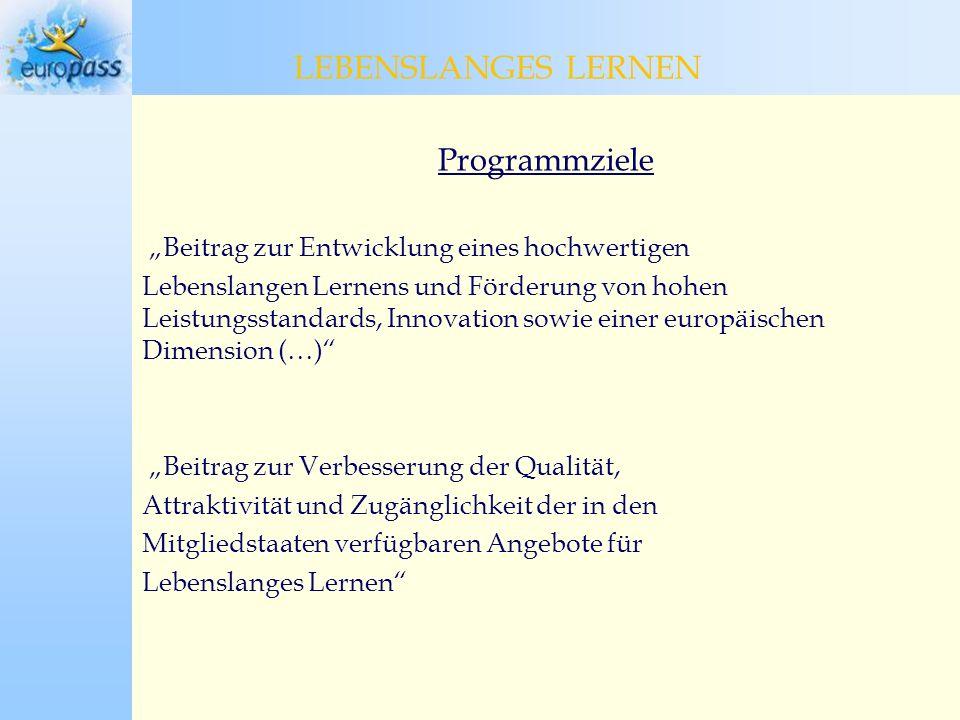 LEBENSLANGES LERNEN LEBENSLANGES LERNEN Programmziele
