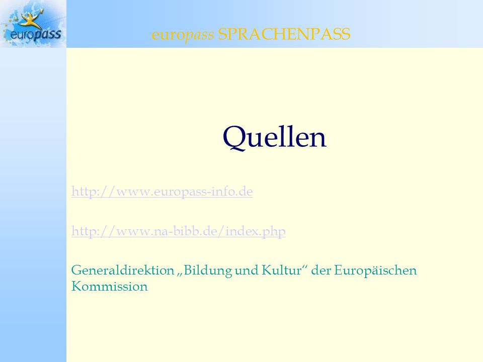 Quellen europass SPRACHENPASS europass Sprachenpass