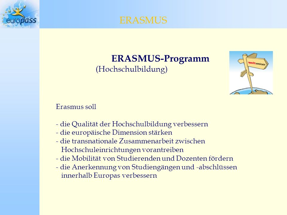 ERASMUS ERASMUS ERASMUS-Programm (Hochschulbildung) Erasmus soll