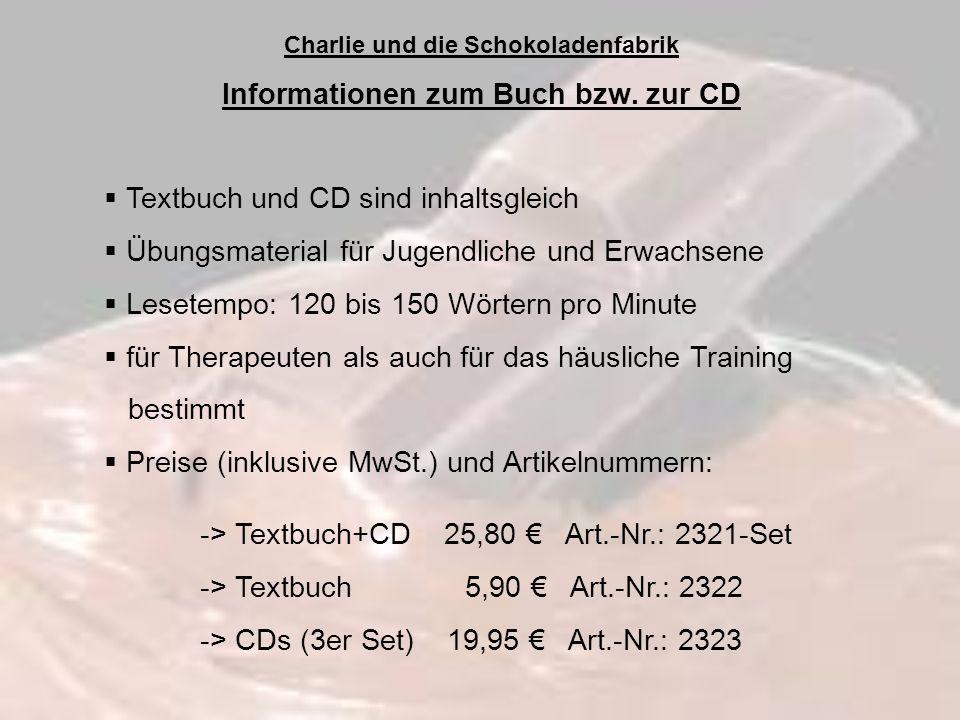 Charlie und die Schokoladenfabrik Informationen zum Buch bzw. zur CD