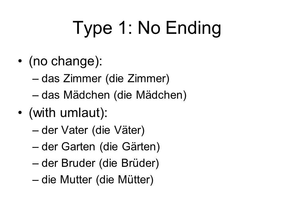 Type 1: No Ending (no change): (with umlaut): das Zimmer (die Zimmer)