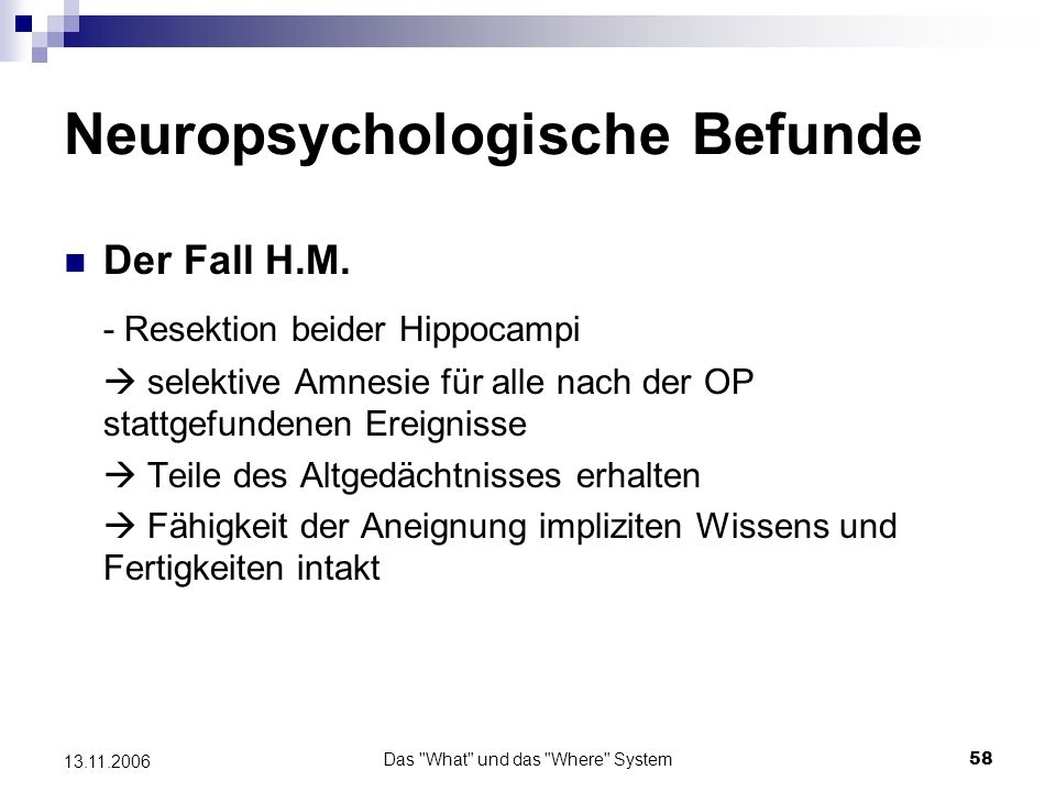Neuropsychologische Befunde
