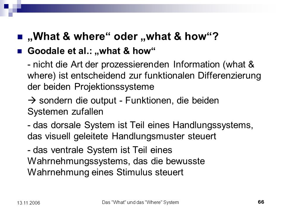 Das What und das Where System