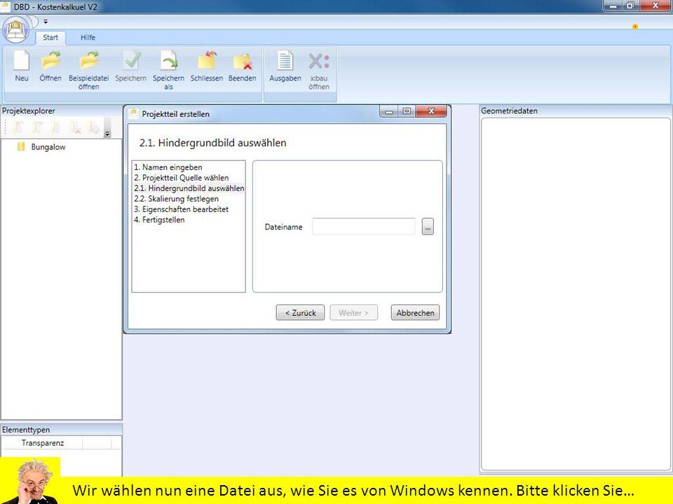 Wir wählen nun eine Datei aus, wie Sie es von Windows kennen