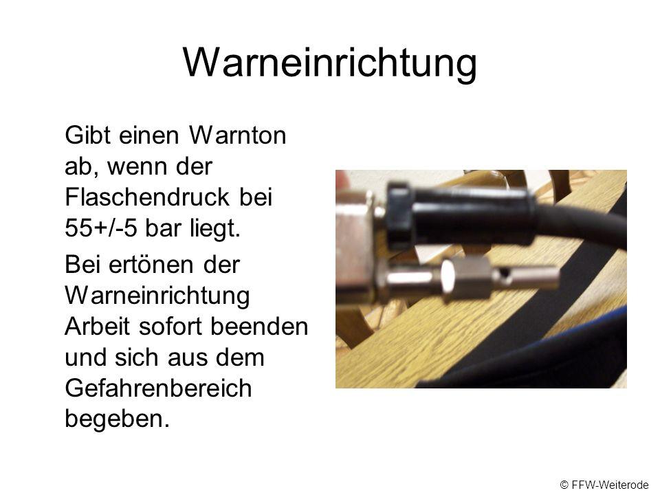 Warneinrichtung Gibt einen Warnton ab, wenn der Flaschendruck bei 55+/-5 bar liegt.