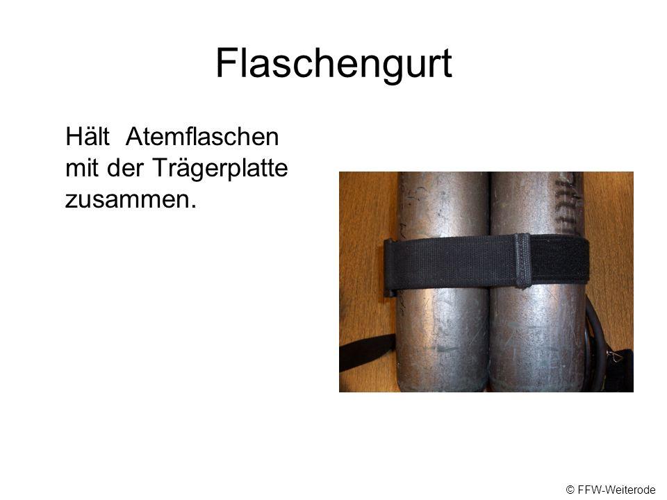 Flaschengurt Hält Atemflaschen mit der Trägerplatte zusammen.