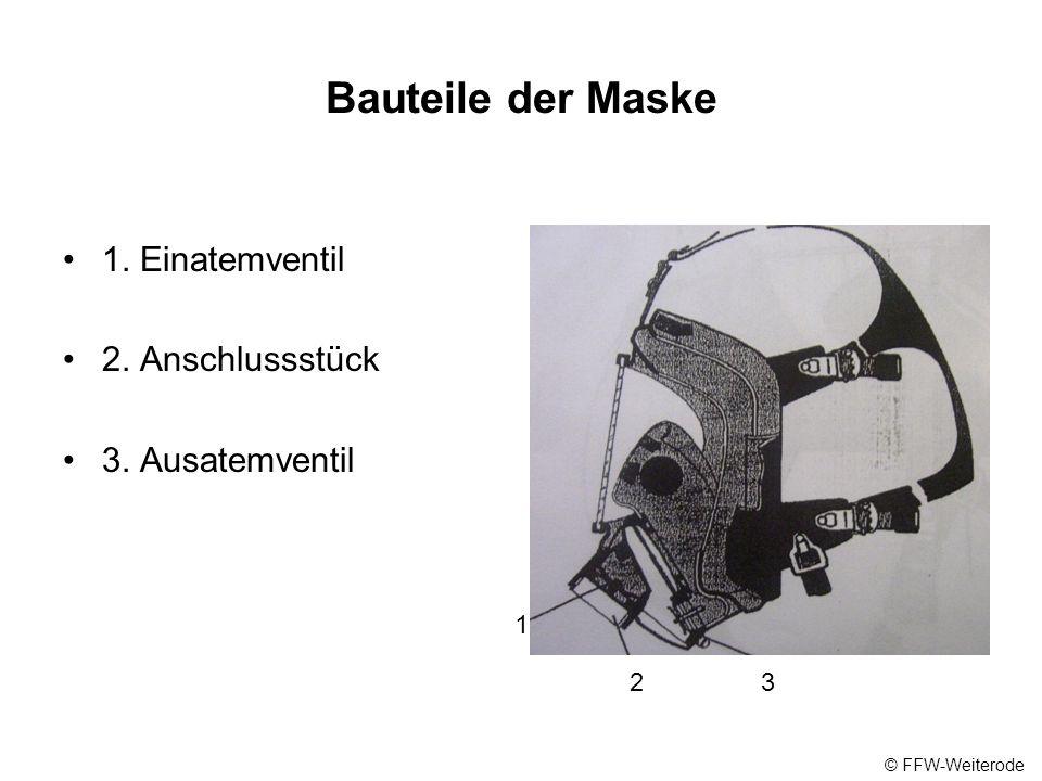 Bauteile der Maske 1. Einatemventil 2. Anschlussstück 3. Ausatemventil