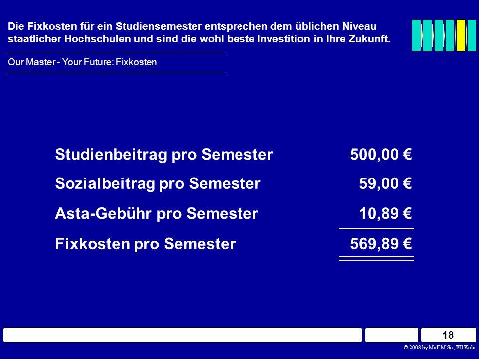 Studienbeitrag pro Semester 500,00 €