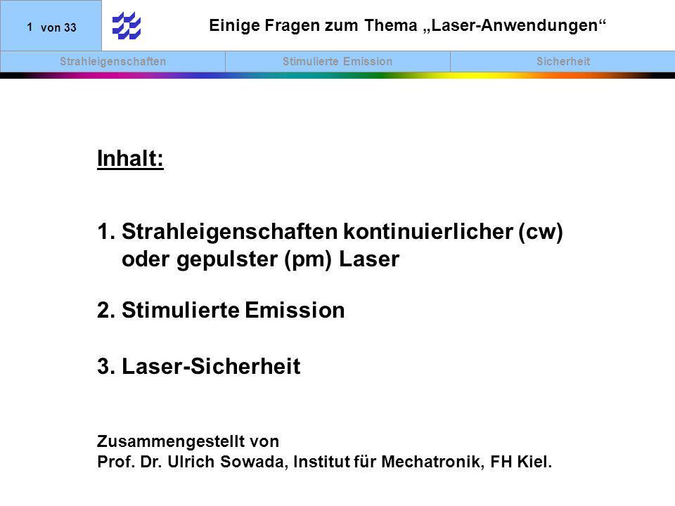"""Einige Fragen zum Thema """"Laser-Anwendungen"""