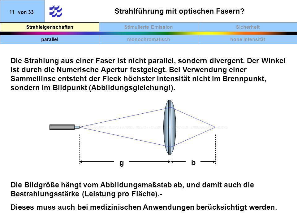 Strahlführung mit optischen Fasern