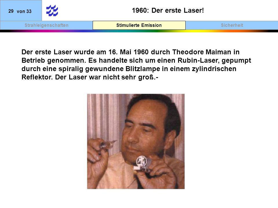 1960: Der erste Laser! Stimulierte Emission.
