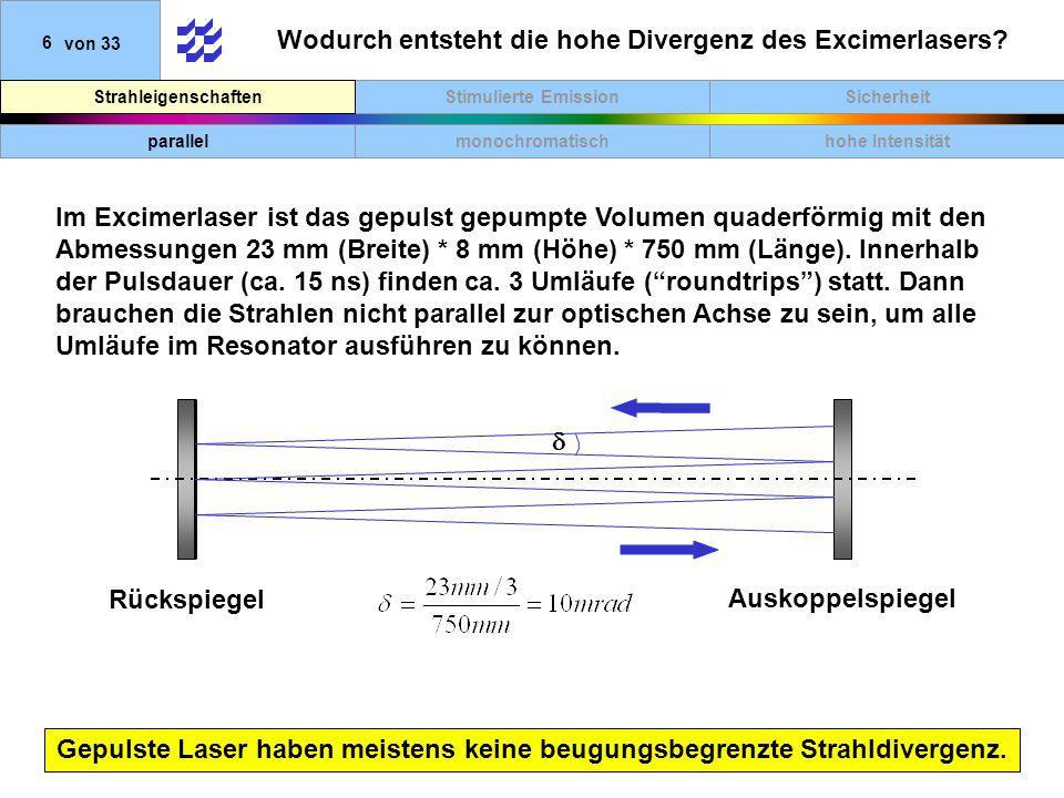 Wodurch entsteht die hohe Divergenz des Excimerlasers