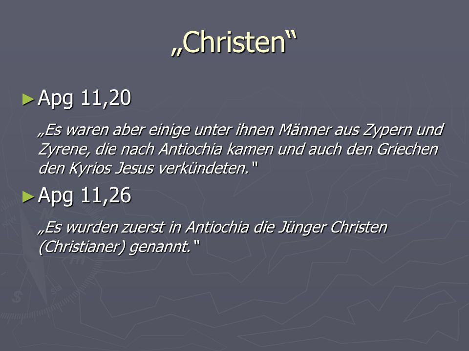 """""""Christen Apg 11,20."""