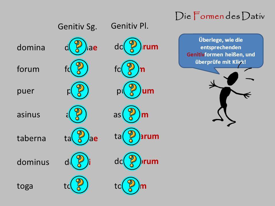 Die Formen des Dativ Genitiv Sg. Genitiv Pl. domina dominae dominarum
