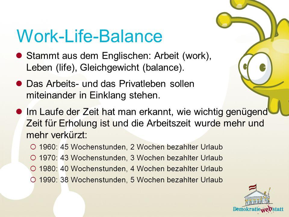 Work-Life-Balance Stammt aus dem Englischen: Arbeit (work), Leben (life), Gleichgewicht (balance).