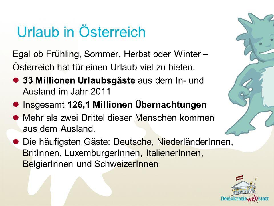 Urlaub in Österreich Egal ob Frühling, Sommer, Herbst oder Winter –