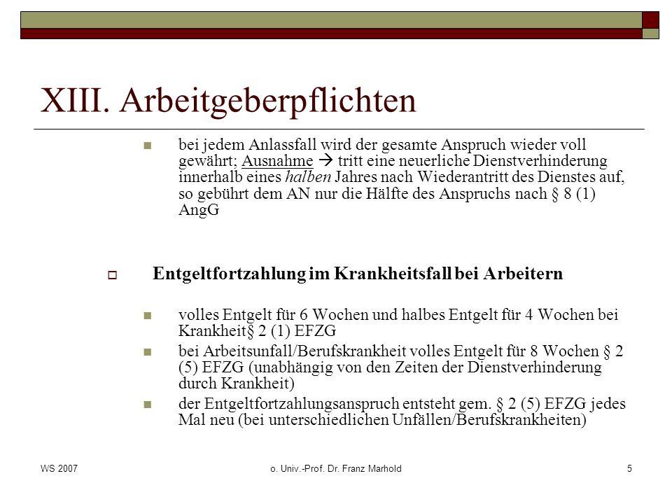 XIII. Arbeitgeberpflichten