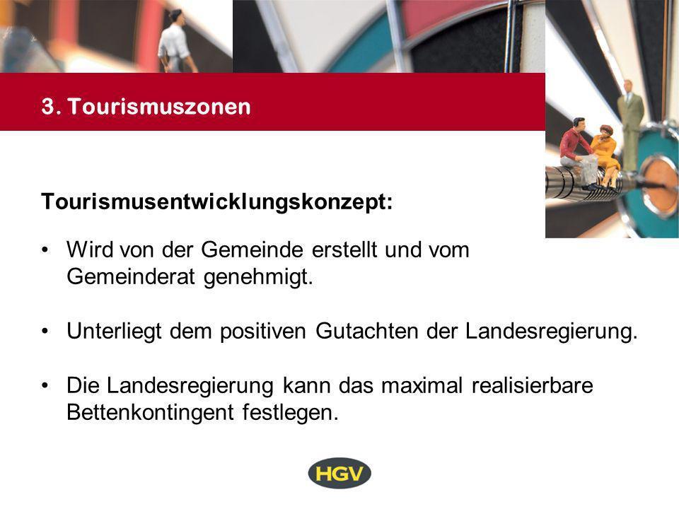 3. Tourismuszonen Tourismusentwicklungskonzept: Wird von der Gemeinde erstellt und vom. Gemeinderat genehmigt.