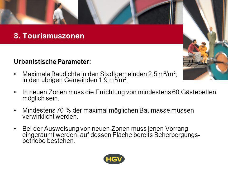 3. Tourismuszonen Urbanistische Parameter: