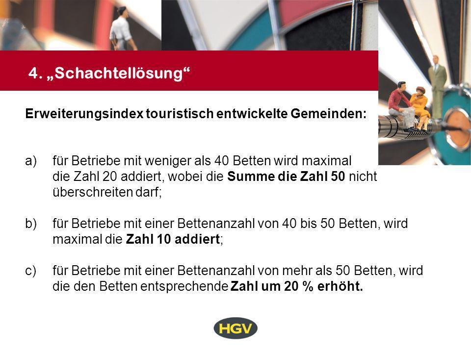 """4. """"Schachtellösung Erweiterungsindex touristisch entwickelte Gemeinden: für Betriebe mit weniger als 40 Betten wird maximal."""