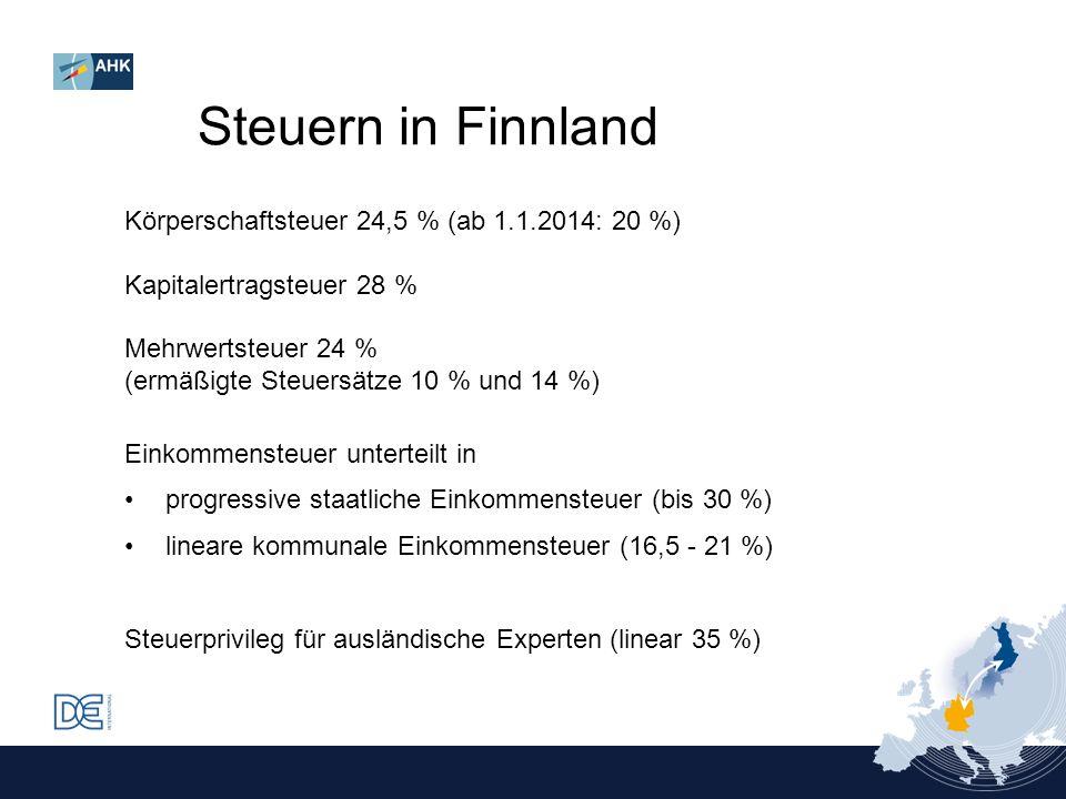 Steuern in Finnland Körperschaftsteuer 24,5 % (ab 1.1.2014: 20 %)