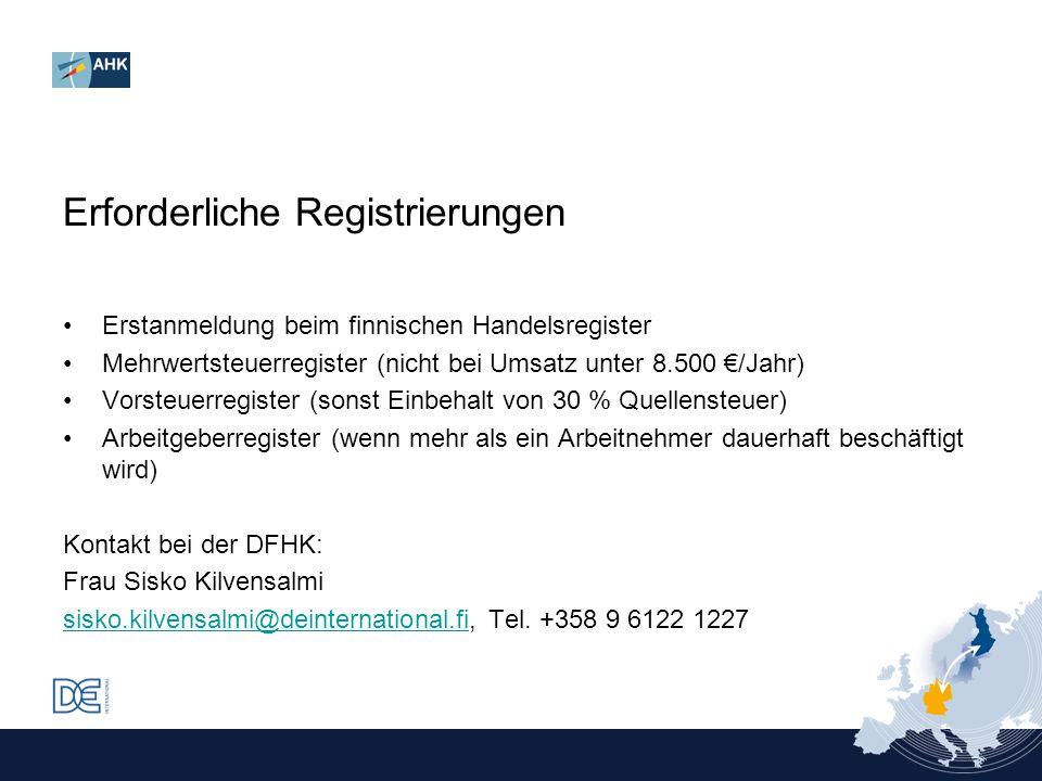 Erforderliche Registrierungen