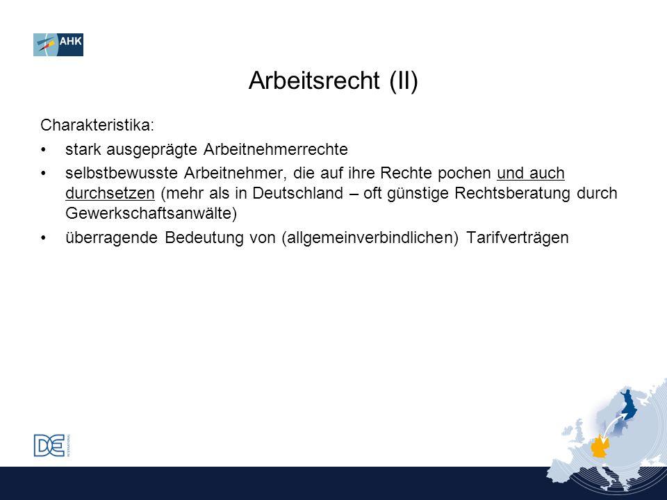Arbeitsrecht (II) Charakteristika: