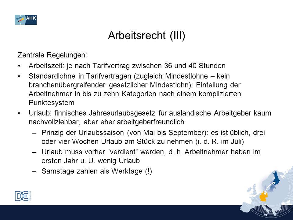 Arbeitsrecht (III) Zentrale Regelungen: