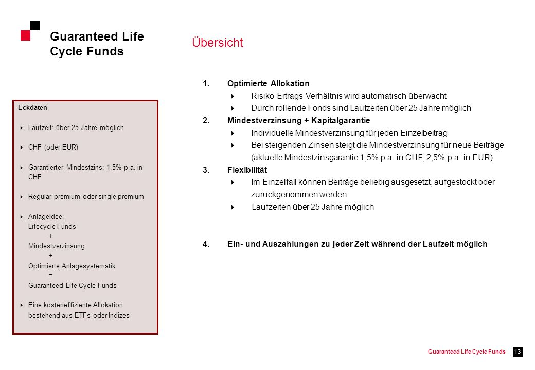 Guaranteed Life Cycle Funds Übersicht