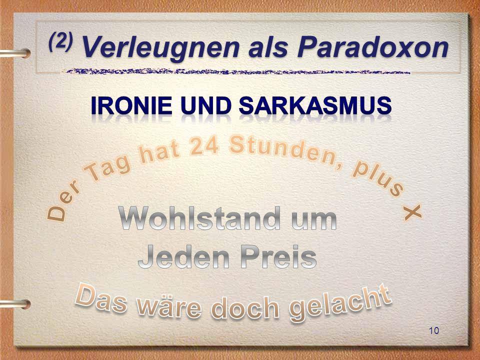 (2) Verleugnen als Paradoxon