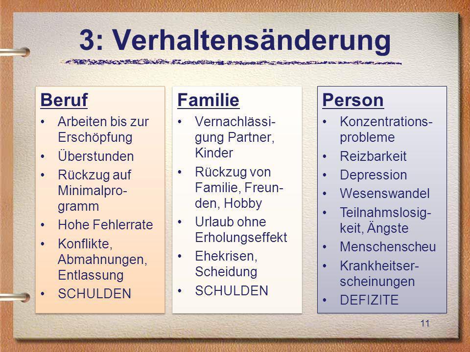 3: Verhaltensänderung Beruf Familie Person