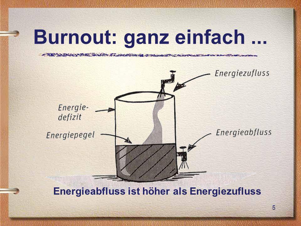 Burnout: ganz einfach ... Energieabfluss ist höher als Energiezufluss